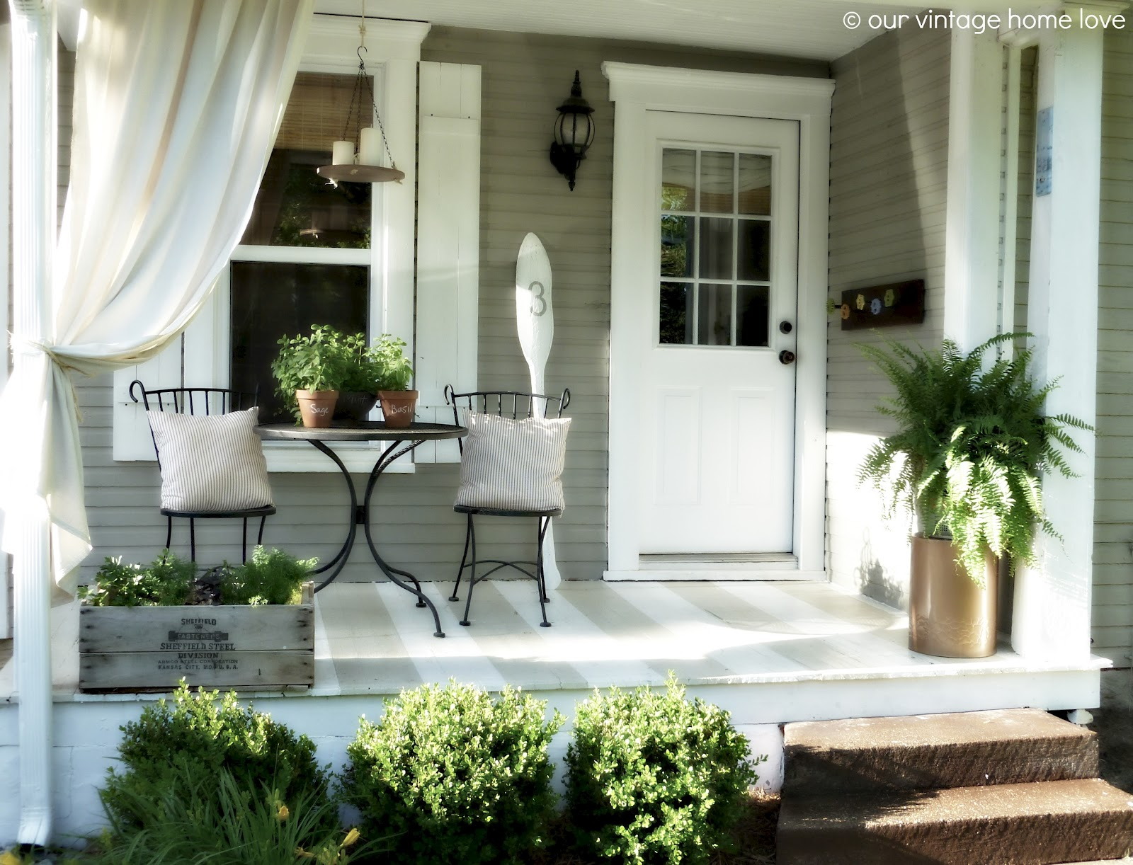 Vintage home love back side porch ideas for summer and an for Simple patio decorating ideas