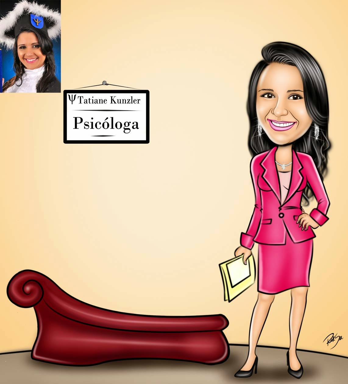 caricatura de formatura de psicologia