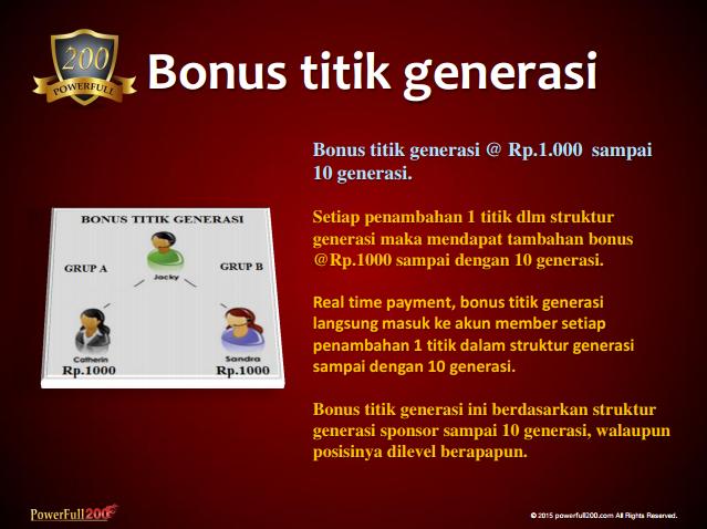 Bonus Titik Generasi Bisnis PF200