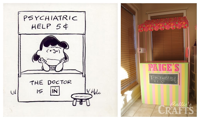 charlie brown, lucy, the doctor is in