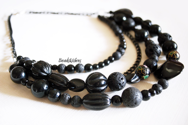 maxi collana black beads and wires