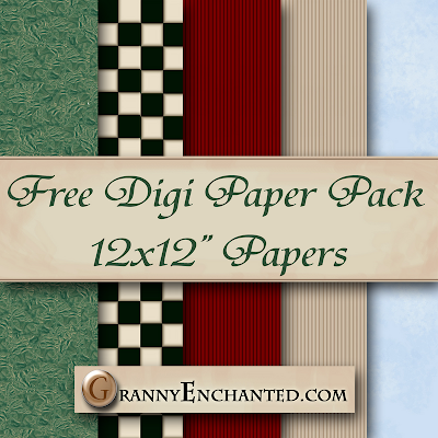 Free Folk Santa Digital Scrapbook Paper Pack