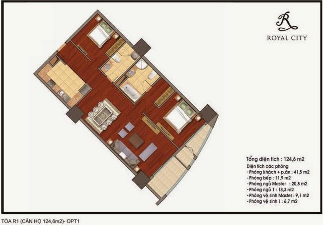 mặt bằng căn hộ 124.6m2 tòa R1 Royal City Nguyễn Trãi