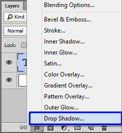 نختار نمط الظل Drop Shadow