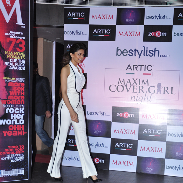 Deepika padukone in white pants at maxim - Deepika padukone at maxim magazine launch in white paints