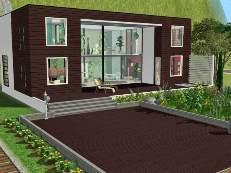 Simplified sims 2 haus momo for Modernes haus sims 4
