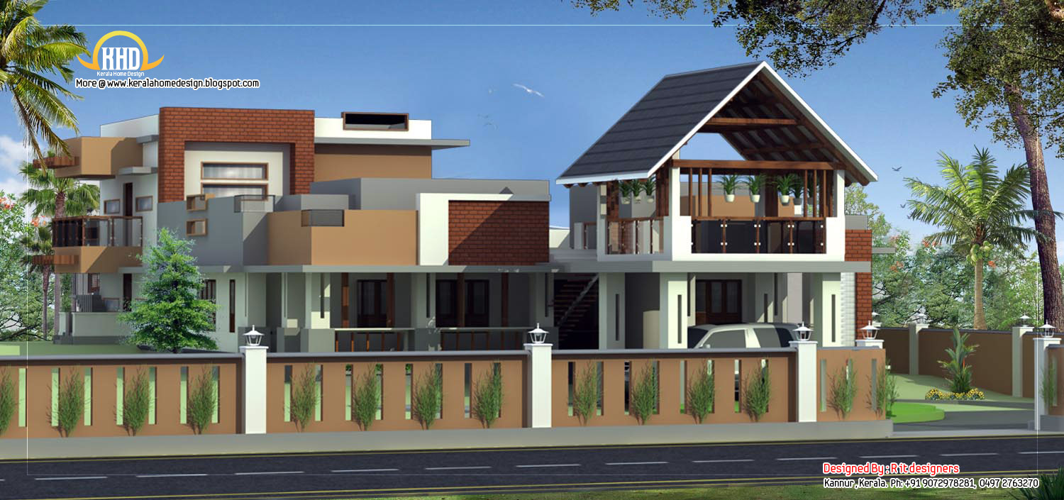 Modern contemporary house elevation kerala home design for Contemporary home elevations