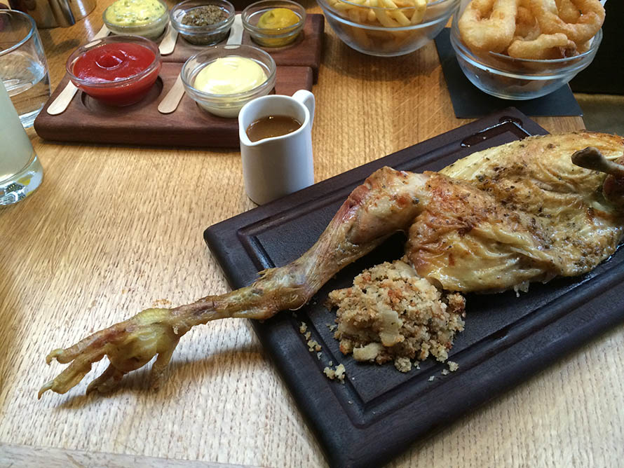 tramshed Roast barn-reared Indian Rock chicken with chips and sage onion stuffing