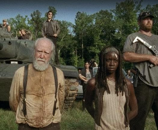 David Morrissey, Scott Wilson and Danai Gurira in the mid-season finale of THE WALKING DEAD