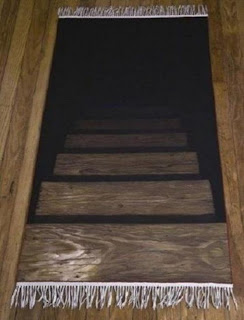 fake stairs carpet optical illusion