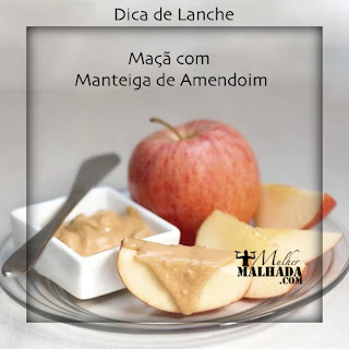 dica de lanche saudável com maçã e manteiga de amendoim
