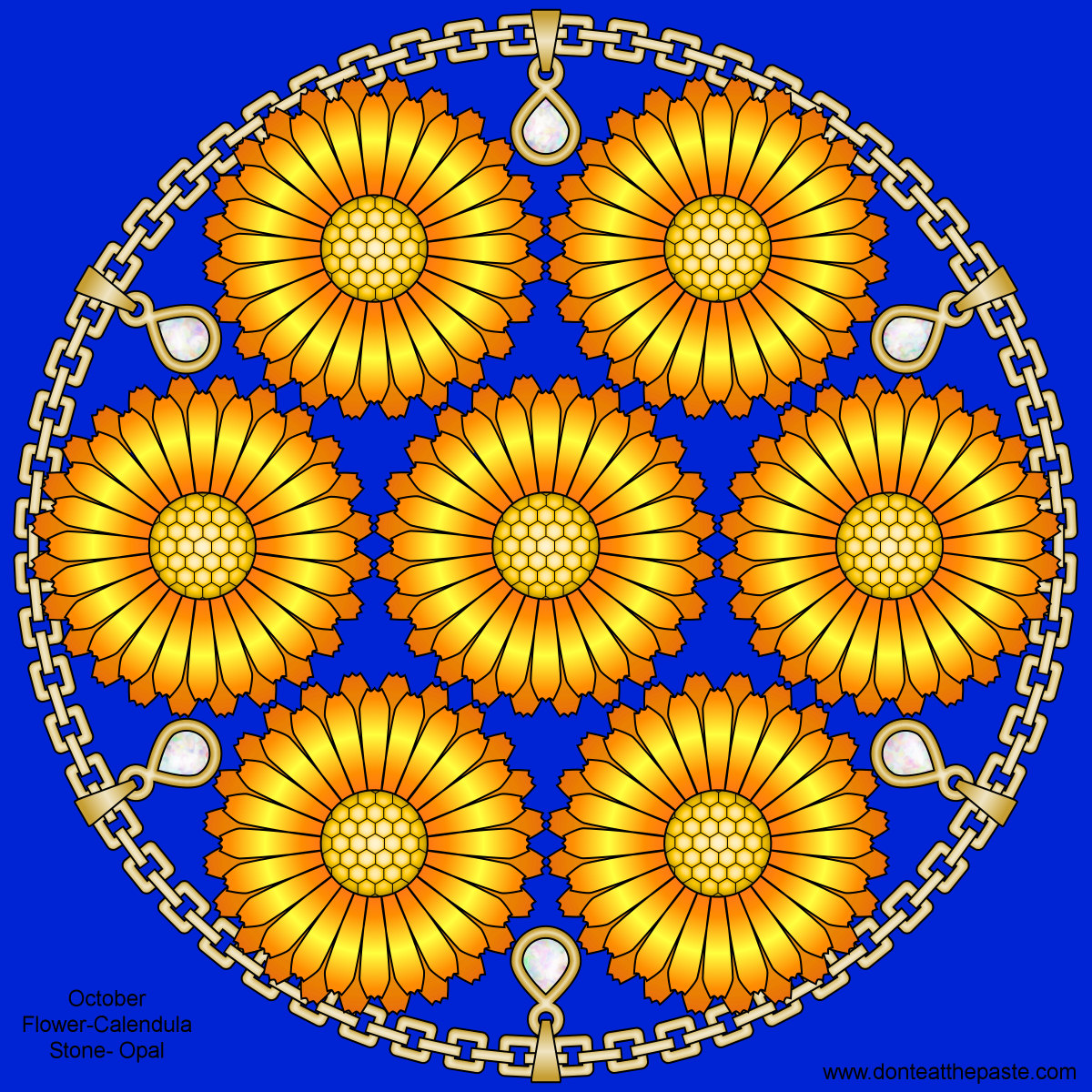 Calendula and opals mandala