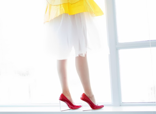 Vancouver Fashion Blogger Jasmine Zhu wearing Snow white costume, Maison Martin Margiela for HM red clear heel pumps close up