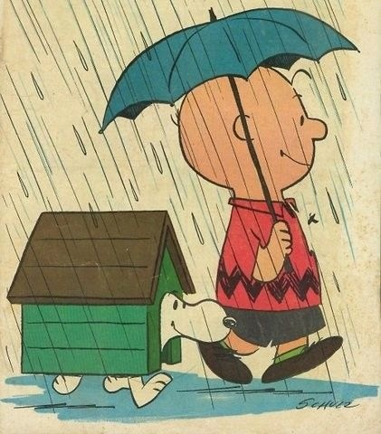 illustration of Charlie Brown and his dog Snoopy in the rain