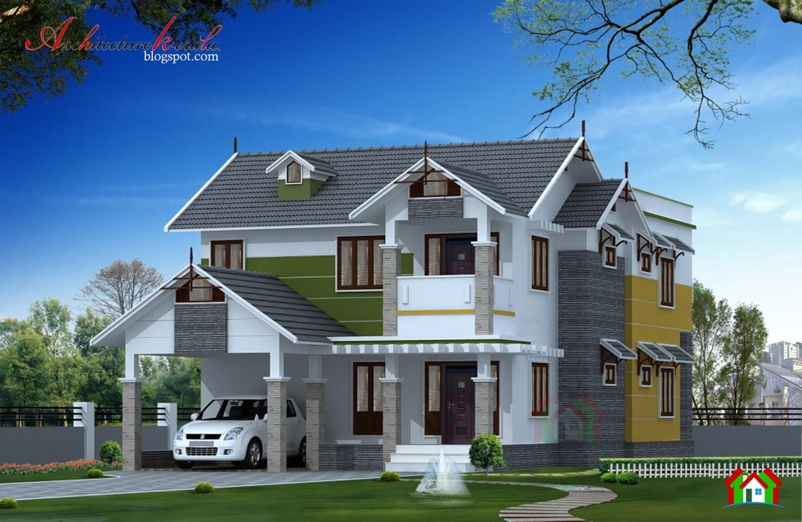 2400 square feet kerala home elevation architecture kerala for Elevation of kerala homes