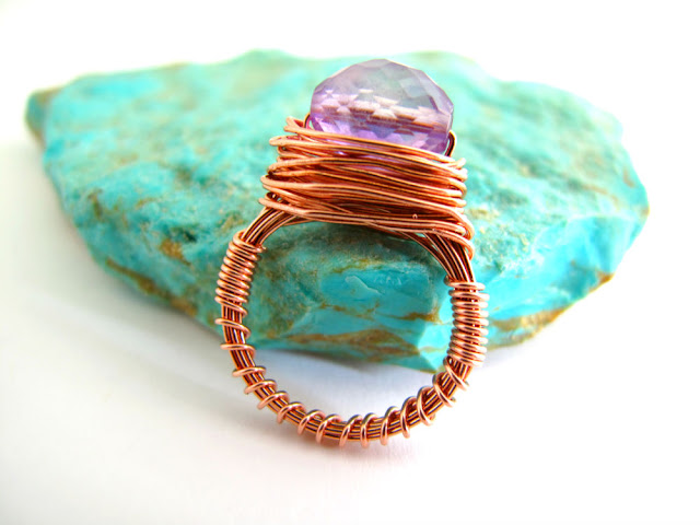 copper wire wrapped amethyst ring