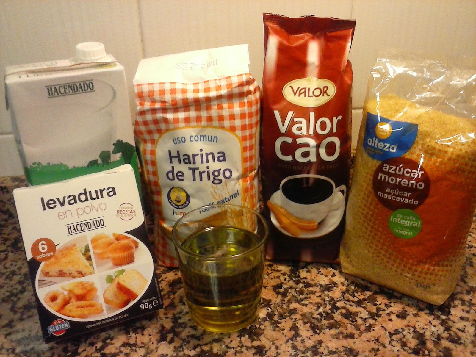 Ingredientes bizcocho chocolate sin huevo