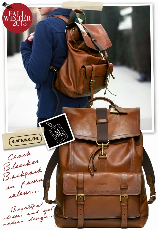 myMANybags: Coach Fall Winter 2013 Mens Bleecker Leather Backpack
