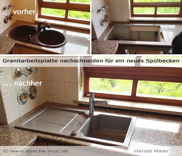 Natursteinarbeitsplatte, Granitarbeitsplatte bearbeiten, anpassen, schneiden, Ausschnitt ändern