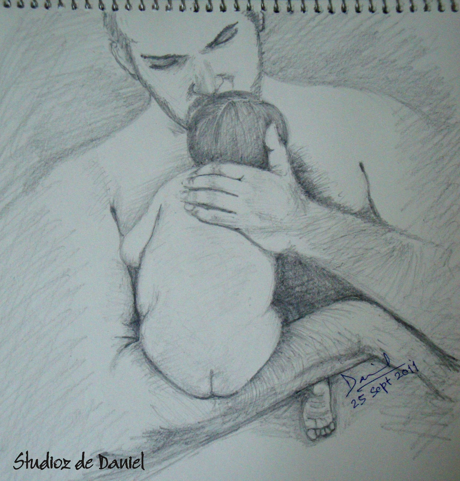 This photograph was very touching i did an instant sketch and dedicated this to all my friends and their daughters