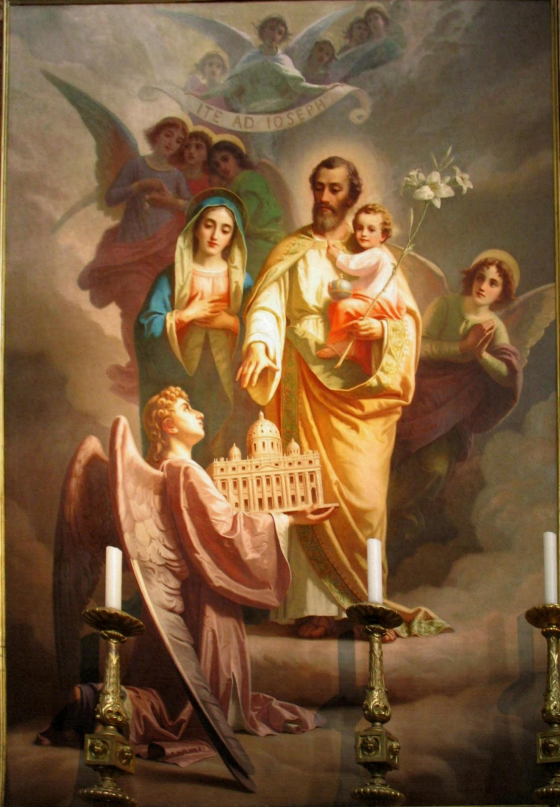 La tela di San Giuseppe nella Basilica del Sacro Cuore, opera di G. Rollini