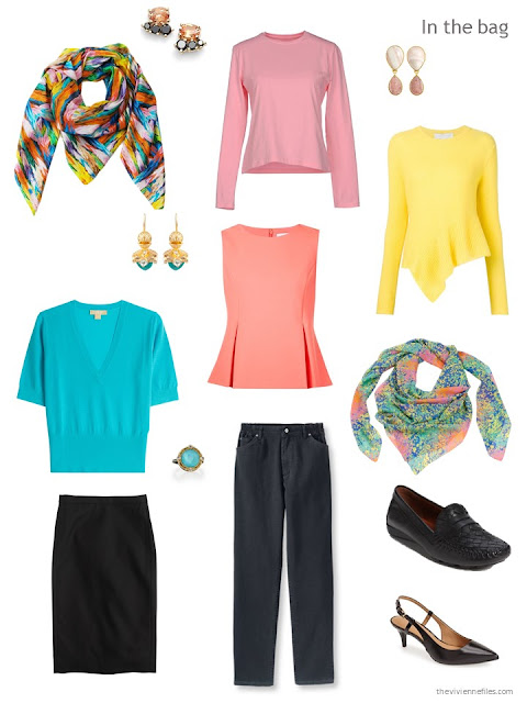 travel capsule wardrobe in black, turquoise, and yellow
