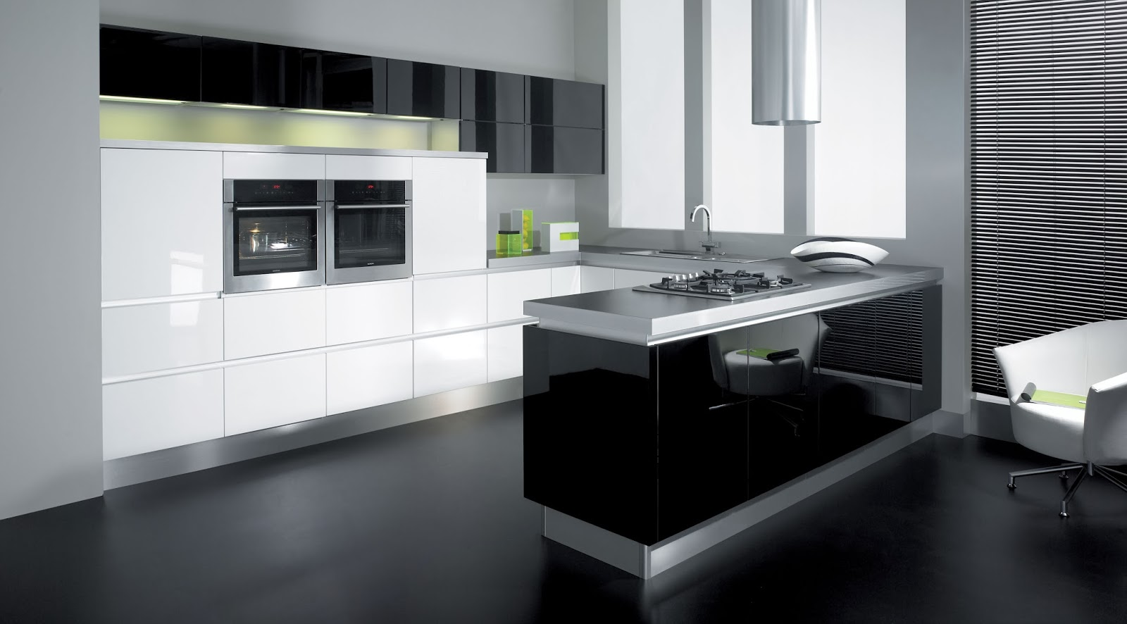 L shaped kitchen with island ideas for Black white and gray kitchen design