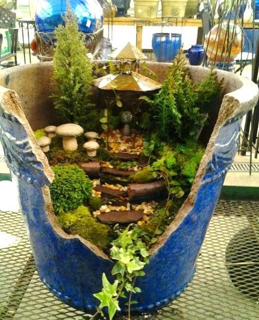 Dishfunctional Designs Fairy Gardens Made From Broken