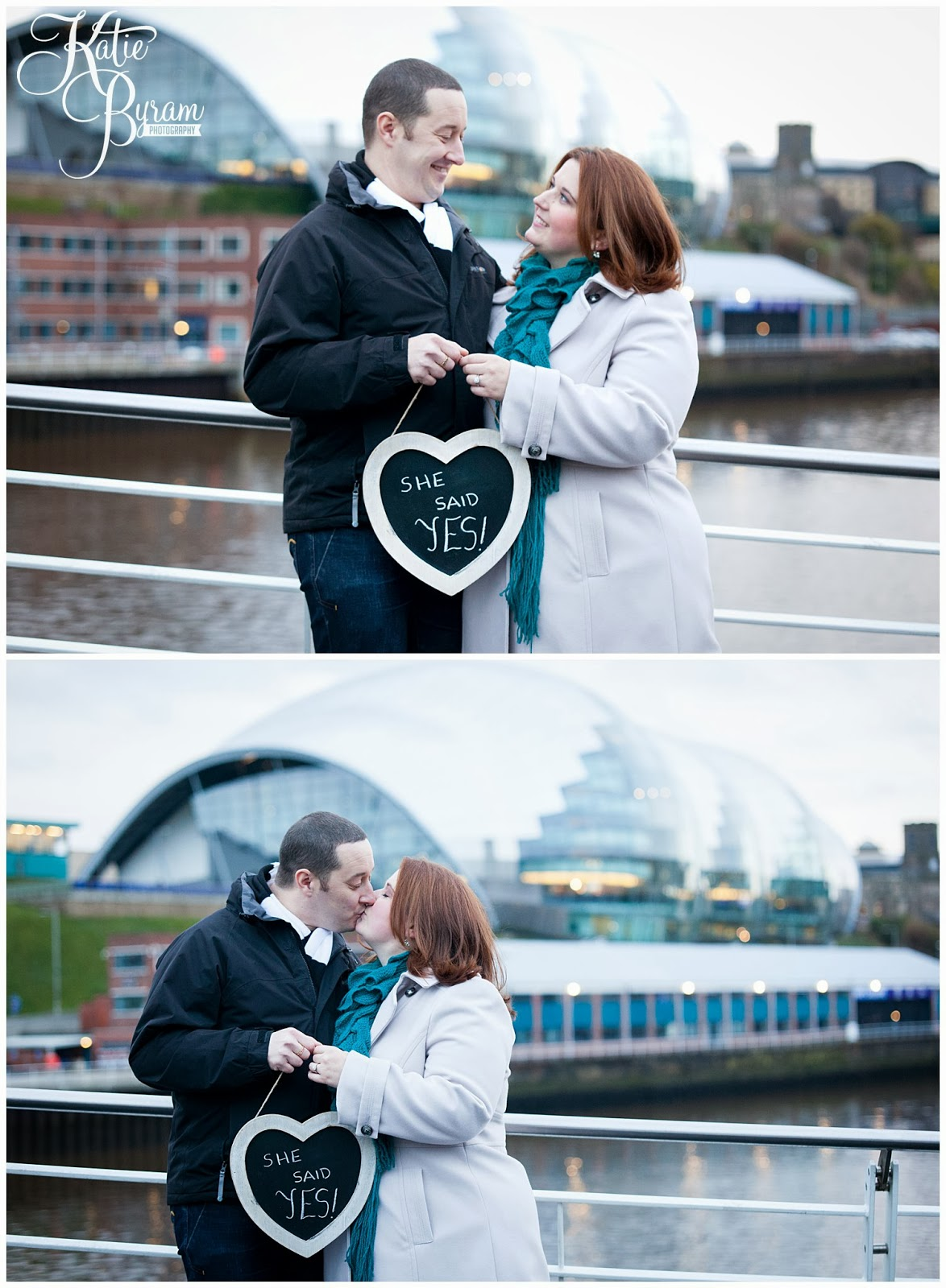she said yes sign, newcastle quayside engagement, newcastle pre-wedding shoot, newcastle quayside portraits, tyne bride engagement, christmas in newcastle, fenwicks window, millenium bridge engagement, pitcher and piano newcastle, olive and bean cafe, the baltic wedding, newcastle wedding photographer, katie byram photography