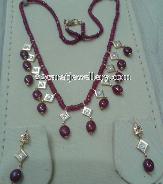 Ruby Beads Set with Drops