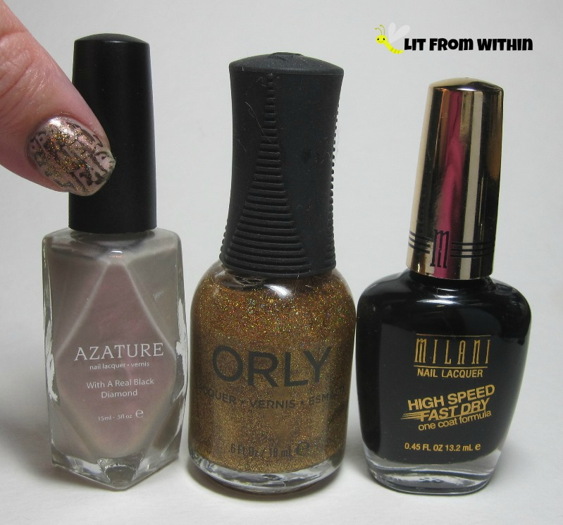 Bottle shot:  Azature Diamond Opal, Orly Bling, and Milani Black Swift.