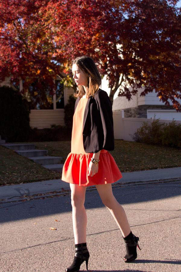 Finders Keepers, Aritzia, black blazer, lob cut, orange dress, drop hem, australian brand, calgary fashion, fall fashion
