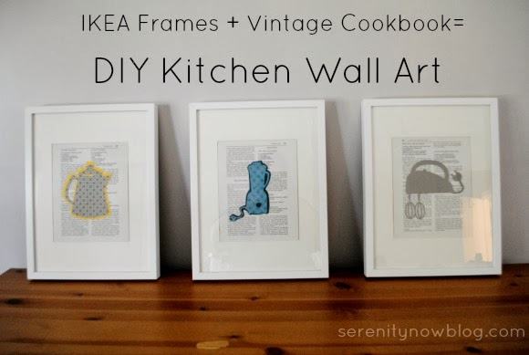 Take a plain IKEA frame and a vintage cookbook and make some art! from Serenity Now
