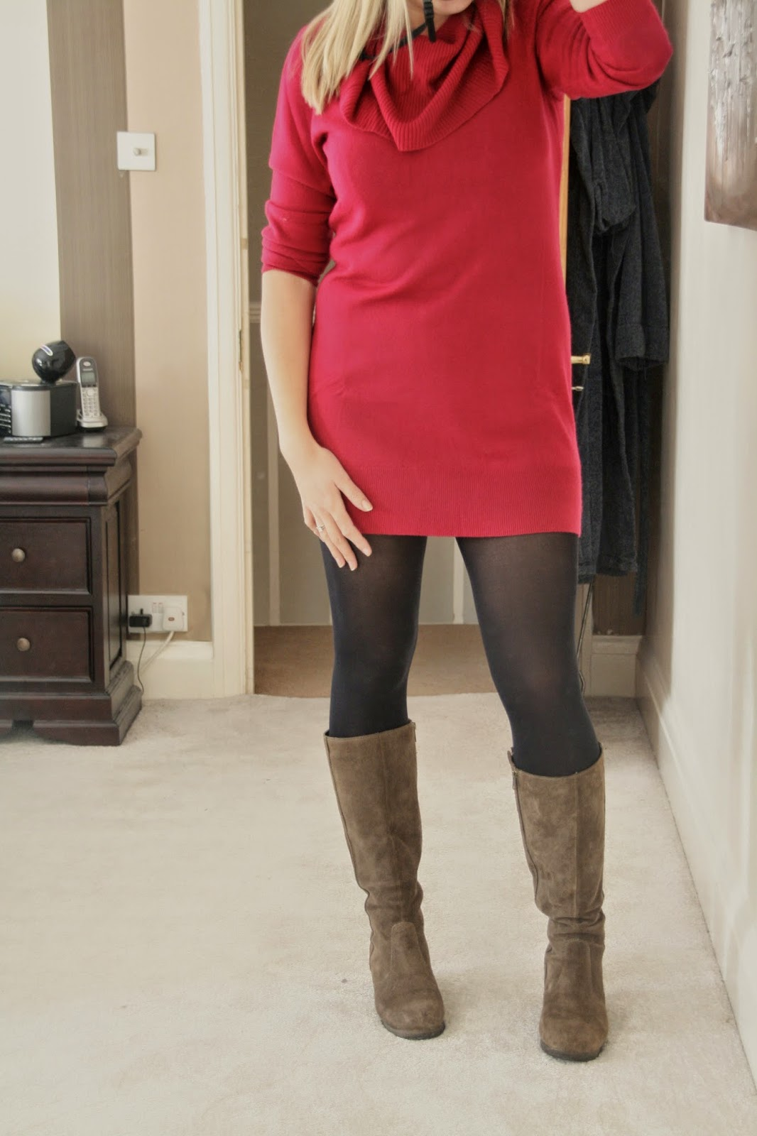 Fuschia-cowl-jumper-dress