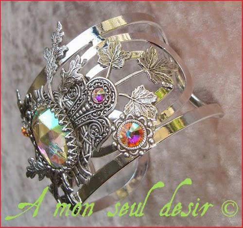 Bracelet Elfique Féerique Floral Végétal Cristal AB Arwen Galadriel Cuff Bangle Crystal AB elven fairy jewelry rainbow sunrise sunshine