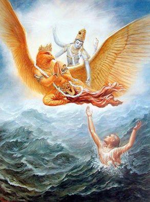 Sri Vishnu mit Garuda
