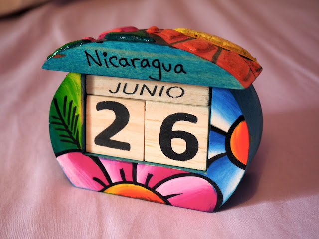 Colourful wooden block calendar from Nicaragua