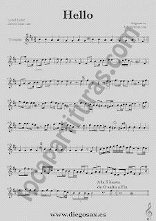 Partitura de Hello para Trompeta y Fliscorno Lionel Richie  Sheet Music Trumpet and Flugelhorn Music Score Hello