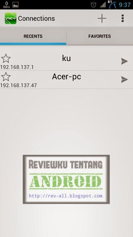 Tampilan utama aplikasi VNCPP - aplikasi android untuk meremot perangkat android atau pc via wifi (rev-all.blogspot.com)