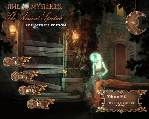 Time Mysteries 2: The Ancient Spectres main menu