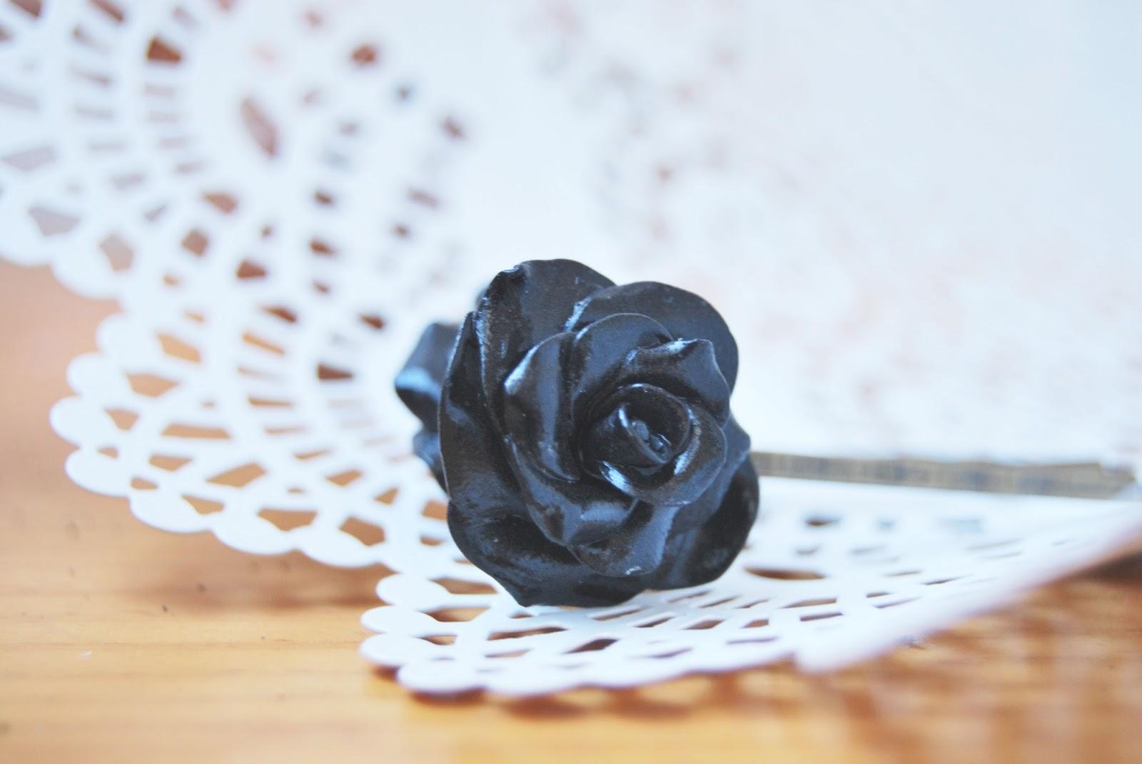 horquillas rosas negras complementos boda