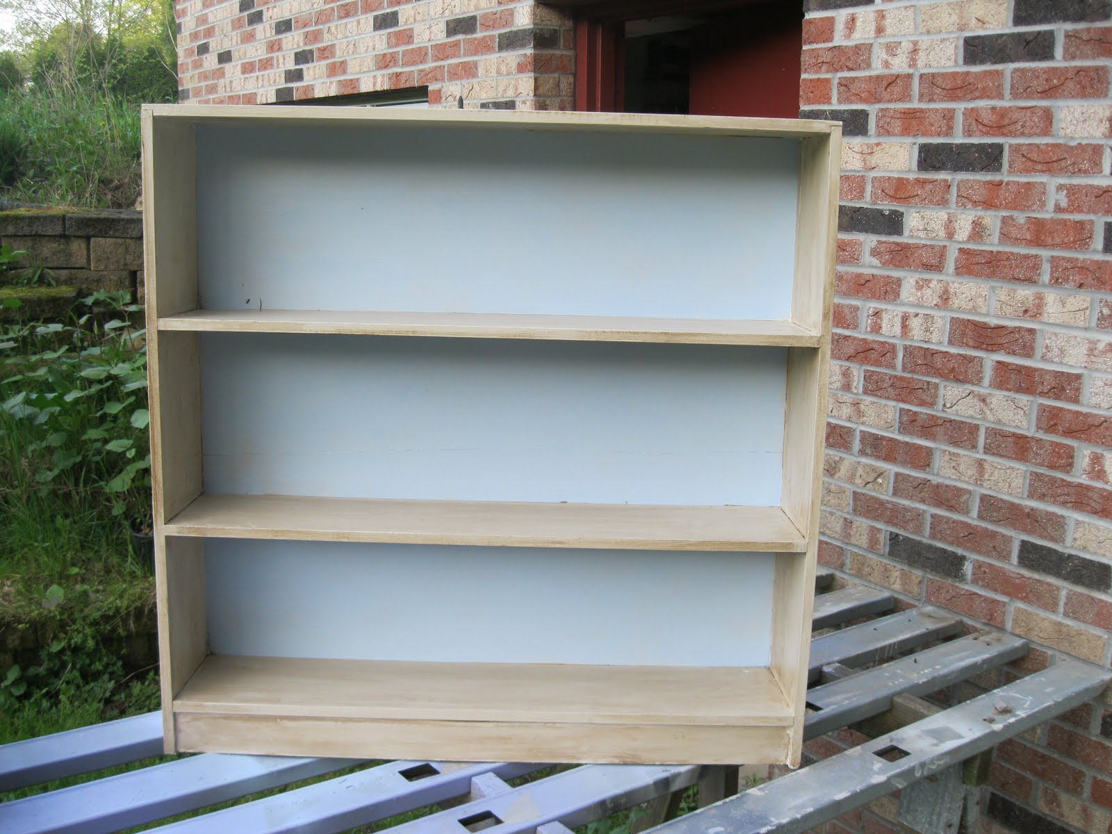 Marvelous photograph of Monkey See Monkey Do!: Painting a Bookcase: Before & After with #4E677D color and 1600x1200 pixels