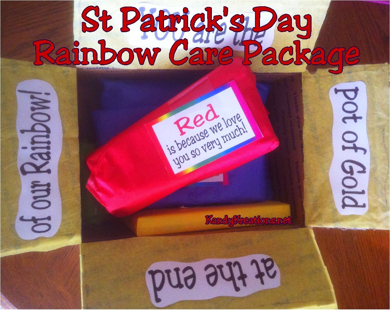 Send your love in a package this St Patrick's day with a fun rainbow colored care package.  Filled with every color of the rainbow and topped with free printable tags, your loved one will know they are the pot of gold at the end of your rainbow!