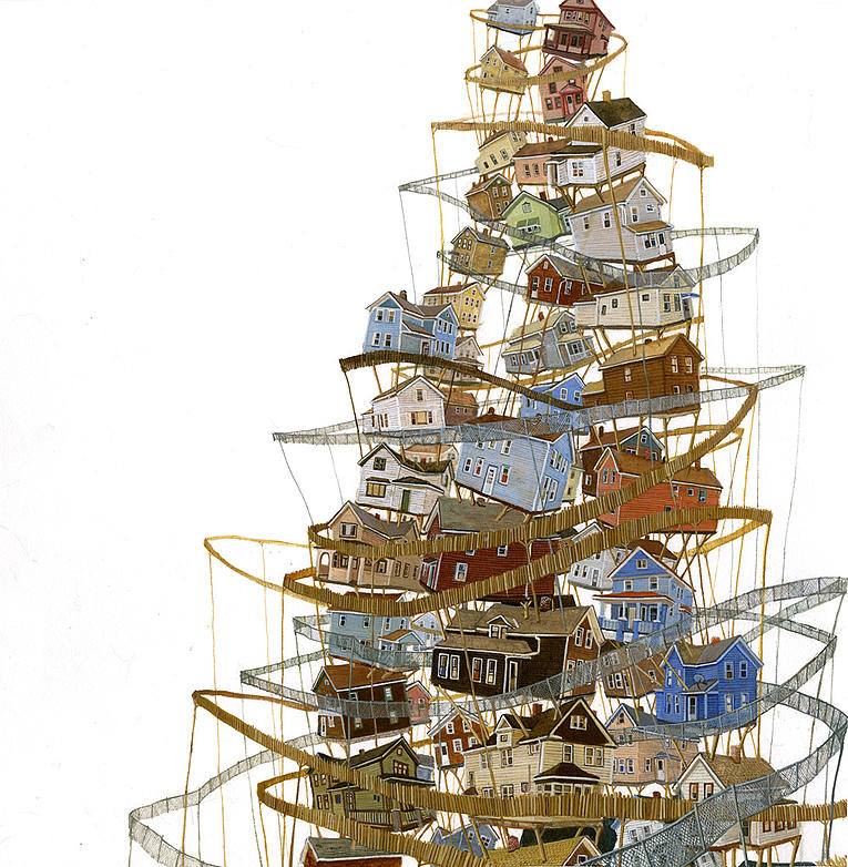 06-Corralled-Amy-Casey-Fantastical-Architectural-Paintings-of-Real-Life-Buildings-www-designstack-co