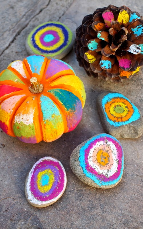 Halloween Art:  No Carve, Colorful Pumpkins, rocks, and pine cones!