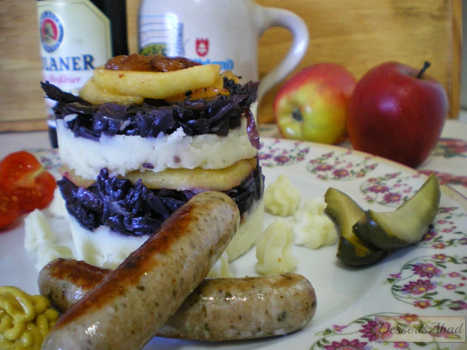 Tartita de lombarda confitada con manzanas y patatas