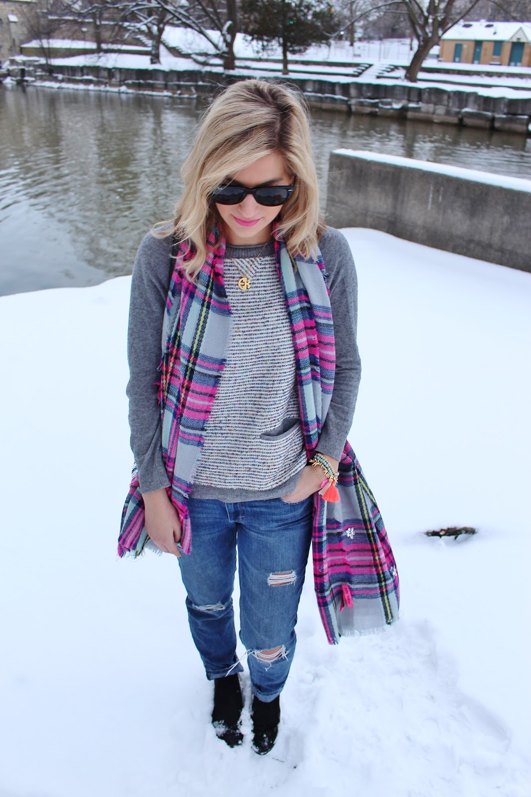 bijuleni- Boyfriend jeans with plaid colourful scarf and sweater