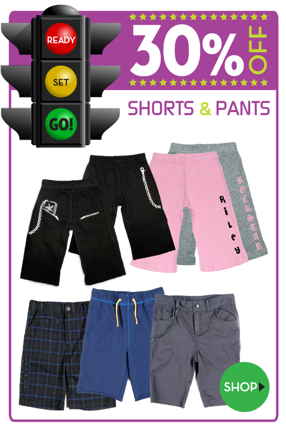 30% off Shorts, Skirts, and Pants for Babies and Kids
