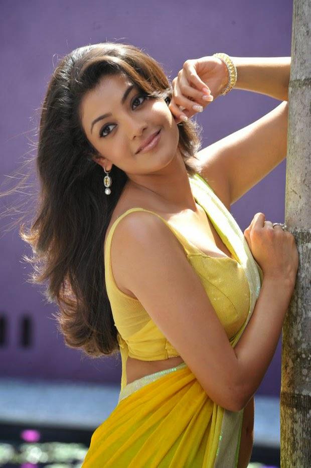 Kajal Agarwal Hot Saree Side View Navel Show Pics Actress Sey