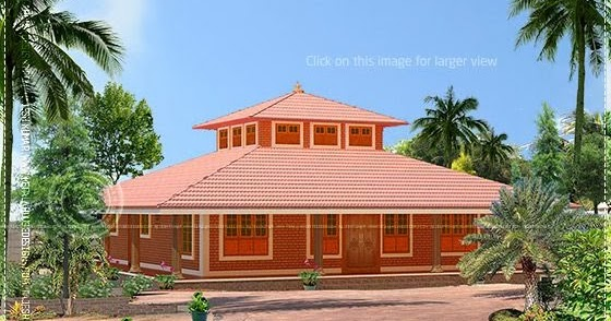 Single storied low cost brick home design kerala home for Brick home construction costs